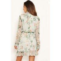 AX Paris Mint Green Floral High Neck Dress New Look