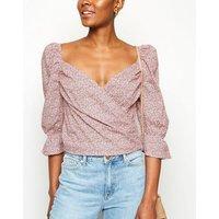 NA-KD Pink Floral Print Puff Sleeve Wrap Blouse New Look