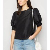 Black Taffeta Puff Sleeve Blouse New Look