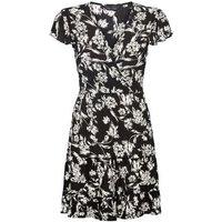 Black Floral Flutter Sleeve Wrap Dress New Look