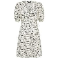 White Floral Puff Sleeve Mini Dress New Look