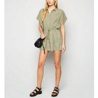 AX Paris Olive Spot Shirt Playsuit New Look