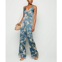 AX Paris Blue Tropical Floral Wide Leg Jumpsuit New Look