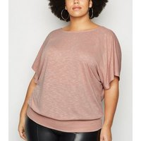Curves Mid Pink Fine Knit Batwing Top New Look