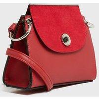 Red Leather-Look Suedette Panel Shoulder Bag New Look Vegan