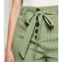 Brave Soul Light Green Tie Waist Plissé Shorts New Look