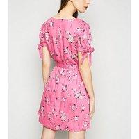 Brave Soul Pink Floral Tie Waist Mini Dress New Look