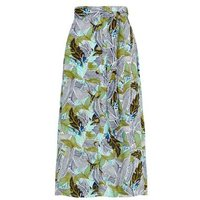 Brave Soul Green Tropical Floral Midi Skirt New Look