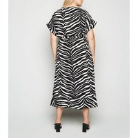 Curves Black Zebra Print Midi Wrap Dress New Look