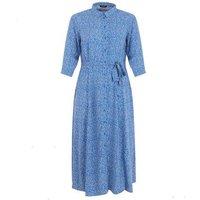 Curves Blue Spot 1/2 Sleeve Shirt Midi Dress New Look