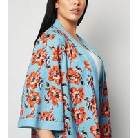 Mela Curves Turquoise Floral Kimono New Look