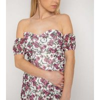 NaaNaa White Floral Ruched Bardot Dress New Look