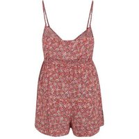 Curves Pink Floral Strappy Playsuit New Look