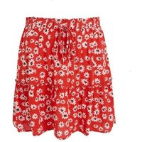 JDY Red Floral Tie Waist Mini Skirt New Look