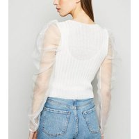 Carpe Diem White Organza Puff Sleeve Cardigan New Look
