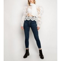 Port Boutique White Lace Bow Top New Look