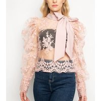 Port Boutique Pink Lace Bow Top New Look