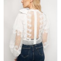 Port Boutique White Bow Mesh Top New Look