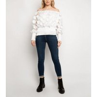 Port Boutique White 3D Circle Mesh Top New Look