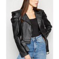 Pink Vanilla Black Leather-Look Jacket New Look