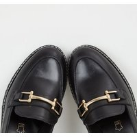 Black Leather Chunky Cleated Loafers New Look