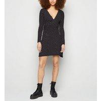 Urban Bliss Black Spot Mini Wrap Dress New Look