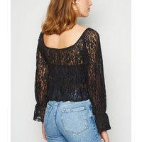 Urban Bliss Black Mesh Lace Peplum Top New Look