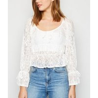 Urban Bliss White Mesh Lace Peplum Top New Look
