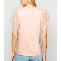 Mid Pink Floral Flocked Organza Puff Sleeve Top New Look