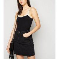 Black Floral Daisy Trim Cami New Look