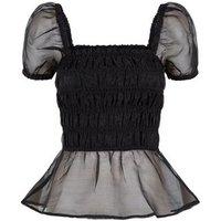 Black Organza Shirred Puff Sleeve Top New Look