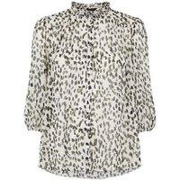 Off White Spot Frill Trim Chiffon Shirt New Look