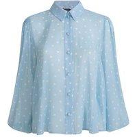 Blue Spot Textured Chiffon Shirt New Look