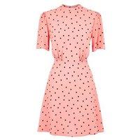 Pink Spot Puff Sleeve Tea Dress New Look