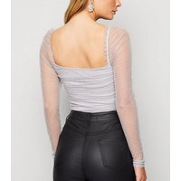 Pale Grey Spot Mesh Ruched Bodysuit New Look