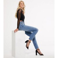 Blue High Waist Ripped Straight Leg Jeans New Look