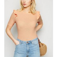 Coral Fine Knit Frill Trim Top New Look