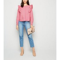 JDY Bright Pink Ruffle Poplin Top New Look