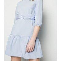 Tall Pale Blue Poplin Belted Mini Dress New Look