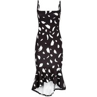 Black Abstract Spot Dip Peplum Hem Midi Dress New Look