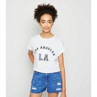 Girls White LA Slogan T-Shirt New Look
