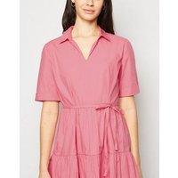 JDY Bright Pink Midi Smock Shirt Dress New Look