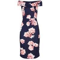 Blue Rose Spot Bardot Bodycon Midi Dress New Look