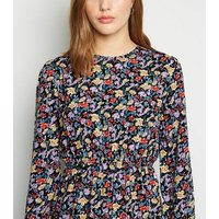 Influence Black Floral Tiered Midi Dress New Look