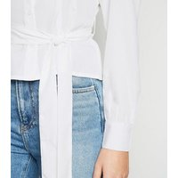 Influence White Tie Waist Puff Sleeve Blouse New Look