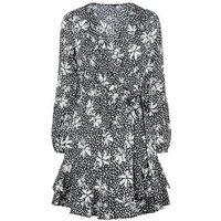 Black Floral Spot Dress New Look