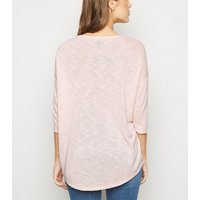 Pale Pink Lattice Front Fine Knit Top New Look