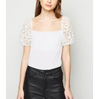 Petite White Daisy Organza Puff Sleeve Top New Look