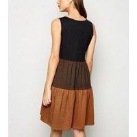 JDY Black Tiered Contrast Mini Dress New Look