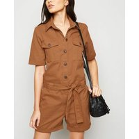 JDY Tan Button-Up Belted Playsuit New Look